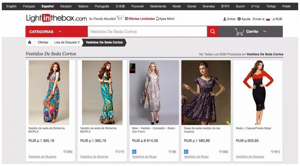 Landing page comprar vestido