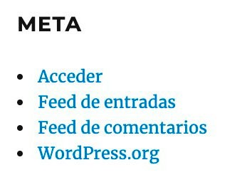 Widget Meta de WordPress